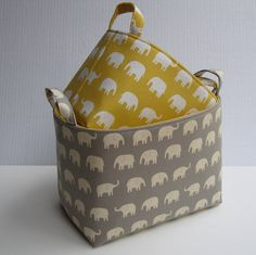 Fabric Organizer Storage Container Bins - Cream Elephants on Gray and Yellow - Set of 2 - Nesting