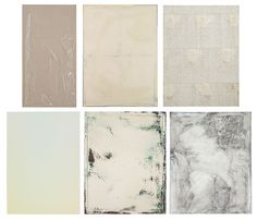 A painting can be neutral beige... Top row, from left: Plastic Sheeting (2012), by Helene Appel; F (A Thing Is a Thing in a Whole Which It's Not) (2012), by David Ostrowski; Untitled (2005), by Sergej Jensen. Bottom row: Untitled (Indiscretion 2) (2013), by Scott Lyall; Waterhome Screen AQ (2013), by James Krone; Graphite Girlfriend (2012), by Nick Darmstaedter.
