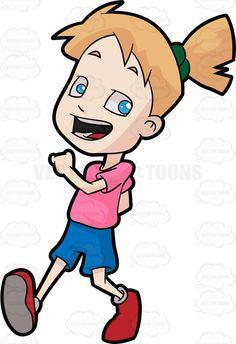 A girl walking in happiness • Vector Graphics • VectorToons com Boy walking Disney art drawings Stock art