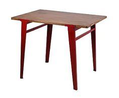 Mesa de comedor en madera de mango y hierro - natural y rojo