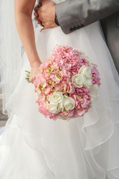 Pink and white bouquet - pink hydrangeas and white roses {Priscilla Thomas Photography}
