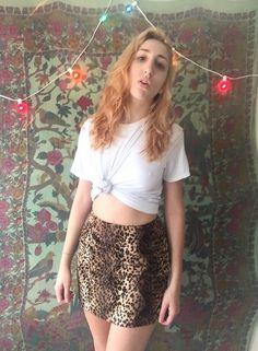 90s/ vtg / Leopard Mini Skirt / faux fur / side by CrusaderVintage