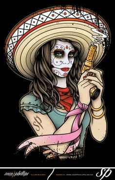 Mexican Day of the Dead Girl by ~Sam-Phillips-NZ Day Of The Dead Girl Tattoo, Day Of The Dead Mask, Sugar Skull Girl, Sugar Skull Makeup, Sugar Skulls, Candy Skulls, La Muerte Tattoo, Girl Tattoo Images, Sugar Skull Artwork