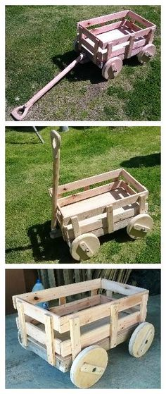 It is a kids cart for playground made with 100% pallet wood. Axes iron pipe and wooden wheels. Se trata de un carro para juegos infantil hecho 100% con madera de pallets. Ejes en caño de hierro y ruedas de…