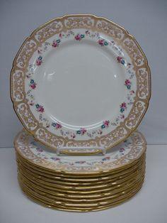 12 Royal Doulton Pink & Gold Service Plates