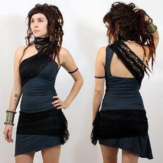 """Robe liloo """"minako"""", bleu pétrole-noir taille s - Femme / Robes-tuniques"""