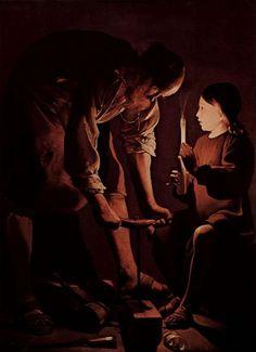 Georges de La Tour. Hl. Josef als Zimmermann. Um 1635-1640, Öl auf Leinwand, 137 × 101 cm. Paris, Musée du Louvre. Frankreich. Barock. KO 00496