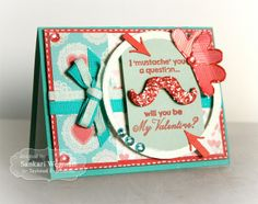 January SOTM I Mustache You Card by Sankari Wegman #Cardmaking, #ValentinesLove, #StampoftheMonth, http://tayloredexpressions.com/kits.html