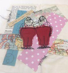 Georgia Motley: mixed media, collage, free machine stitch, alice in wonderland, appliqué