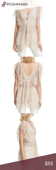 Free People Heatherton Mesh Tiered Lace Tee/Top Brand new with tags! Cream in color. Size small. Set hearts a-flutter in this ethereal, partially sheer V-neck top graced with a dotted mesh peplum and delicate lace trim. Lace flutter sleeves. Lace contrast hem. More Pics and details coming soon!! Free People Tops Blouses