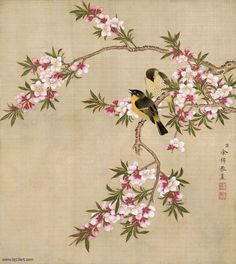 1 X Good Life Pink Cherry Blossom Tree Wall Decal, Flower Floral Wall Sticker with Butterfly, Vinyl Art Wall Decal, Wall Decal Mural Japanese Painting, Chinese Painting, Chinese Art, Floral Artwork, Floral Wall Art, Peony Painting, Fabric Painting, Flower Paintings, Poster Prints