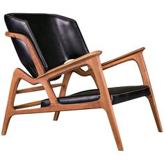 Tisa #Armchair, Contemporary Lounge Chair In Walnut And High Quality Leather   1stdibs.com #UniqueChair