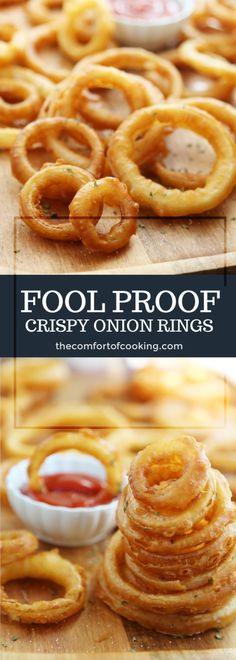 Foolproof Crispy Onion Rings Foolproof Crispy Onion Rings Foolproof Crispy Onion Rings<br> Snack on a stack of these crispy, salty onion rings! Simple ingredients and quick cooking Homemade Onion Rings, Baked Onion Rings, Batter For Onion Rings, Easy Onion Rings Recipe, Healthy Onion Rings, Baked Onions, Crispy Onions, Tasty, Yummy Food