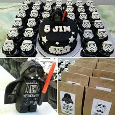 Darth Vader n Storm Troopers - star wars themed cake n party bags