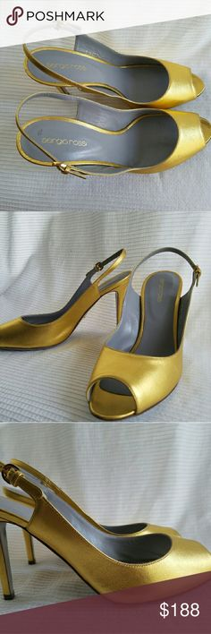 Sergio Rossi Metalic Gold Leather Slingback Sz 8.5 For iconic Italian fashion straight from the runway, think Sergio Rossi. This fashionable peep toe pump is perfect for work or play.   Size 41 EU / 11 US  Made in Italy   This is new, never been worn and still in original box. Perfect to dance dance dance or even a gift. The only issue with this shoe is the wrong size tagging which says 41 Eu/11 US but i think this is most likely a US size 8.5 or 9. This sandal is retailed at $615. Sergio…