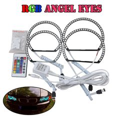 (49.99$)  Watch here - http://ai0id.worlditems.win/all/product.php?id=32724481417 - For Bmw E46 Non Projector RGB Multi-Color Angel Eyes Halo Rings Kit 2*131mm+2*145mm Front Driving DRL Fog Light Rings