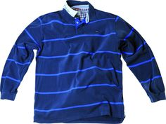 Sweat fabriqué en 100 % coton, matière douce et confortable  Un produit rayé style Rugby grande taille pour homme Casual  Fermeture trois boutons et revers du col imprimé.