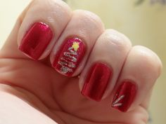 "christmas nail designs | nail art ""swish's"" on my thumbs and pinkies just to add more design ..."