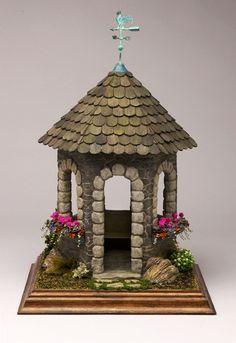 Stone Gazebo with geranium flower boxes by Pepperwood Miniatures - Miniature Garden Mini Fairy Garden, Fairy Garden Houses, Garden Gazebo, Miniature Fairy Gardens, Miniature Houses, Portable Gazebo, Clay Fairy House, Pottery Houses, Geranium Flower