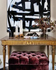 Jeff Andrews Design - ottoman under console - striped velvet fabric? Home Interior, Interior And Exterior, Interior Decorating, Fall Decorating, Interior Styling, Black And White Abstract, White Art, Black White, Design Entrée