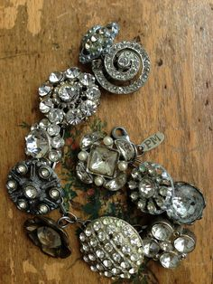 Big A Vintage Rhinestone Button Bracelet Number by PaulaMontgomery