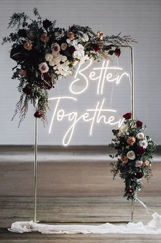 There is a new wedding trend for neon wedding signs. They must not be missing from any yes word. You can find inspiration here! There is a new wedding trend for neon wedding signs. They must not be missing from any yes word. You can find inspiration here! Dream Wedding, Wedding Day, Wedding Disney, Wedding News, Wedding Hire, Lesbian Wedding, Wedding Anniversary, Wedding Ceremony Backdrop, Wedding Backdrops