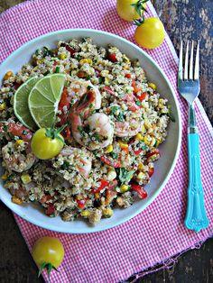 sweetsugarbean: Chipotle Roasted Corn & Quinoa Salad with Prawns