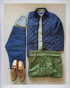 Today's Outfit. Denham Quilting Jacket Utility Jacket Wool Knit Cap U. School Fashion, Daily Fashion, Mens Fashion, Barbour Mens, Men Closet, Levis 505, Casual Wear For Men, Penny Loafer, Outfit Grid