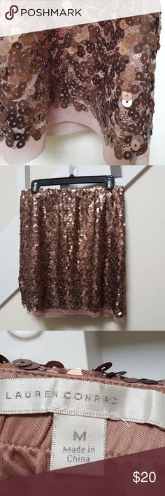 Lauren Conrad sequin skirt Blush colored sequin skirt just in time for the holidays! LC Lauren Conrad Skirts Mini