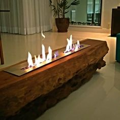 Candles In Fireplace, Home Fireplace, Fireplace Design, Fireplaces, Luxury Homes Interior, Home Interior Design, Interior Decorating, Wood Burning Stove Corner, Wood Table Design