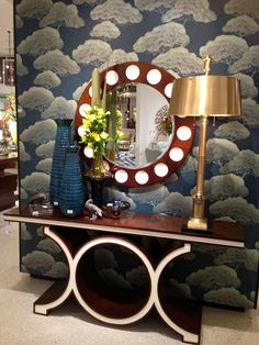 Link console in walnut & ivory from Global Views offers stunning contrast and statement. Show stopping piece for an entry way! Their showroom is always full of tons of design eye candy. One of my favorite stops 4 accessories! IHFC #hpmkt #stylespotters #wallpaper #pattern #accessories #blue