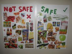 safe vs not safe posters for kids- they used these for allergies, but you could also do an FHE lesson on what household products, or strangers, places, etc. are unsafe