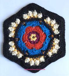 Crochet between worlds: Frida's Flowers CAL - Block 4 - Rosa Crochet Quilt, Crochet Blocks, Crochet Chart, Crochet Squares, Knit Or Crochet, Crochet Motif, Crochet Flowers, Crochet Granny, Sewing