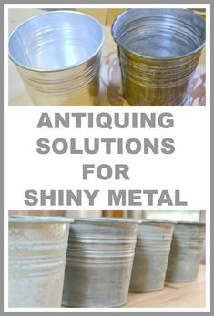 From shiny buckets to chicken wire, this is the post you want to read if you want to get the antiqued look on metal.  Homeroad.net #metal #antiquing #antiquingsolutions #aging #vintage