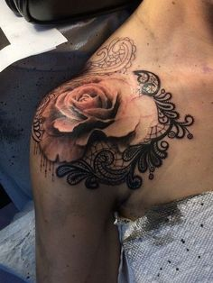 Rose and Lace Shoulder Tattoo.