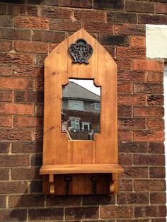 Handmade arched mirror , made with reclaimed timber , with shelf and genuine antique cast iron hooks , and beautiful cast iron filigree plaque Reclaimed Wood Frames, Reclaimed Timber, Handmade Wooden, Handmade Items, Filigree, Cast Iron, Hooks, Shelf, South Yorkshire