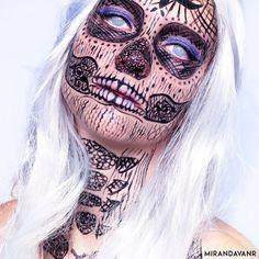 Lace skull Makeup by MirandavanR.deviantart.com on @DeviantArt