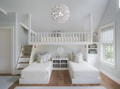 3 Popular Types of Triple Bunk Beds with Cool Features - Clean White Bedroom with Gorgeous Triple Bunk Beds and Tidy Shelves under Wide Ceiling Lamp