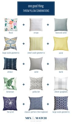Throw Pillow Combinations: Botanical/black and white