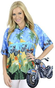 Aloha Beach Blouse Women Aloha Button Down Casual Hawaiian Tank Top Shirt Blue >> You can find more details here : Evening dresses