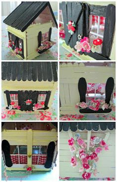 Seaside Tinkered Treasures: 35 adorable projects to bring the seashore home Popsicle House, Popsicle Stick Houses, Popsicle Stick Crafts, Craft Stick Projects, Craft Stick Crafts, Crafts For Kids, Iphone Wallpaper Lights, Fairy House Crafts, Yellow Crafts