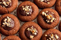 Peanut Butter and Chocolate Cookies with Ganache Filling
