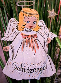 Blumentopfstecker / Gartenstecker / Beetstecker / Schutzengel / Skulptur /  Kunstvoll Bunt Bemalt / Beidseitiges Motiv /schweres Hochwertiges Material  Aus ...