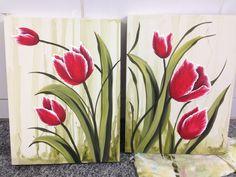 Díptico de tulipas vermelhas 30x40cm