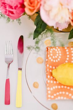 #sherbet place setting #lemon Photography by erinmcginn.com Design, Styling & Food by coutureparties.com