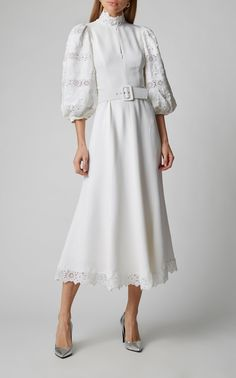 Andrew Gn Belted Lace-Paneled Crepe De Chine Dress