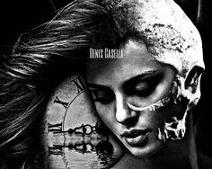 Tattoo project by Denis Casella Realization: https://instagram.com/p/BGzlLfuPCEC/ #clock #tattoo #girl #skull