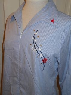 b18f970699876 Details about Vtg LAS OLAS Nautical Blue White Sailor Stripe Anchor Ship  Wheel Zip Shirt~M