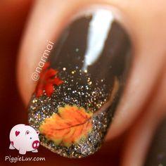 PiggieLuv: Fall nail art! Autumn leaves on glitter gradient
