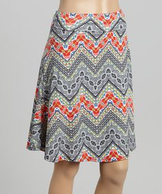 Red & Gray Geometric Chevron Flare Skirt - Women